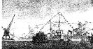 День Военно-Морского Флота в г. Балтийске (Пилау). Справа виден стоящий в гавани на бочке крейсер «Киров». 1949 г. Рисунок с натуры.