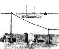 На внешнем рейде г. Свинемюнде (Польша). На втором плане, идущая мимо, шведская шхуна. Вдали, потопленный нашей авиацией, крупный немецкий лайнер «Берлин» (сидит на дне, виден на половину). Впоследствии отремонтирован и назван «Адмирал Макаров». 1947 г. Рисунок с натуры.